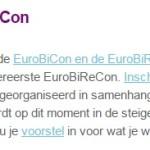 Illustration Email Newsletter Dutch Bisexual Network – Landelijk Netwerk Biseksualiteit: Nieuws uit het LNBi: EuroBiCon en EuroBiReCon (Dutch)