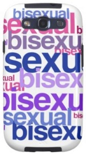 Illustration of a smartphone with cover that reads the word bisexual numerous times in the three bi pride colours pink, purple and blue.