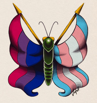 Illustration bisexual trans* butterfly